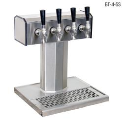 Glastender - BT-4-SS - 4-Faucet Stainless Air Cooled Tee Tower w/Drain Pan image