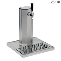 Glastender - CT-1-MF - 1-Faucet Mirror Finish Air Cooled Column Tower w/Drain Pan image