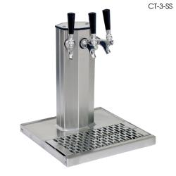 Glastender - CT-3MFR - 3-Faucet Mirror Finish Glycol Column Tower w/Drain Pan image