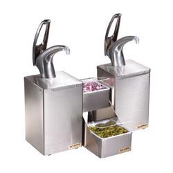 san jamar p4826 frontline dual polished condiment system image - San Jamar