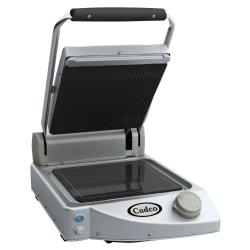Cadco - CPG-10 - Single Panini Grill with Ribbed Top Plate image