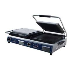 Globe - GPGDUE14D - Double Panini Grill with Grooved Plates image