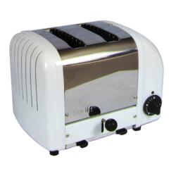 Cadco - CBT-2 - Stainless Steel and White 2 Slot Heavy Duty Bagel Toaster image