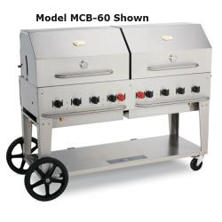 Crown Verity - CV-MCB-72-LP/RD-36 - 72 in Mobile Liquid Propane Outdoor Charbroiler With Roll Domes image