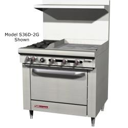Southbend - S36D-2G - S-Series 36 in Restaurant Range with 2 Burners and 24 in Griddle image