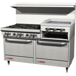 Southbend - S60DD-2RR - 300 Series 60 in Restaurant Range with 6 Burners, Raised Griddle and Standard Ovens image