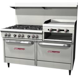 Southbend - S60DD-2RR - 60 in 6-Burner 300 Series Gas Range w/ Raised Griddle and Standard Ovens image