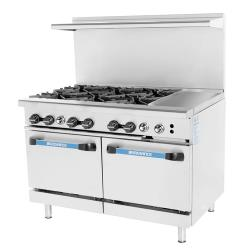 Turbo Air - TARG-6B12G - 48 in 6 Burner Gas Range w/12 in Right Side Griddle image