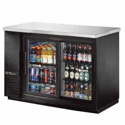 True - TBB-24-48G-SD-LD - 49 in Stainless Steel Back Bar Cooler w/ 2 Glass Doors image