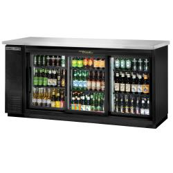 True - TBB-24-72G-SD-HC-LD - 73 in Back Bar Cooler w/ 3 Glass Sliding Doors image