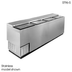 "Glastender - ST96-B - 96"" Vinyl-Clad Bottle Cooler w/Stainless Interior image"