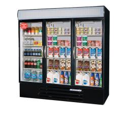 Beverage Air - MMR72HC-1-B - 72 cu ft Black 3 Door MarketMax Merchandiser Fridge image