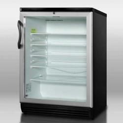 Summit - SCR600BL - Black Glass Door Refrigerator image