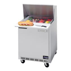 Beverage Air - SPE27-12M-23 - 27 in Mega Top Sandwich Prep Table with 3 in Casters image