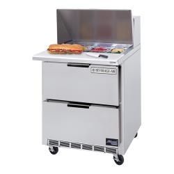 Beverage Air - SPED27-12M-A - 27 in 2 Drawer Mega Top Sandwich Prep Table with 12 Pans image