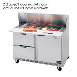 Beverage Air - SPED48-12M-4 - 48 in 4 Drawer Mega Top Sandwich Prep Table with 8 Pans image