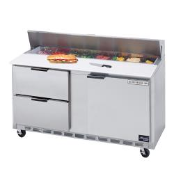 Beverage Air - SPED60-18M-2 - 60 in 2 Drawer Mega Top Sandwich Prep Table with 9 Pans image