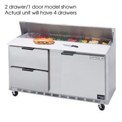 Beverage Air - SPED60-24M-4 - 60 in 4 Drawer Mega Top Sandwich Prep Table with 15 Pans image