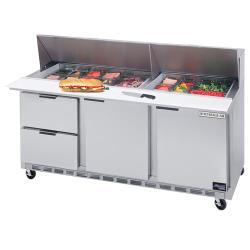 Beverage Air - SPED72-30M-2 - 72 in 2 Drawer Mega Top Sandwich Prep Table with 21 Pans image