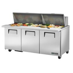 True - TSSU-72-30M-B-ST-HC - 72 in Mega Top 3-Door Sandwich Prep Table image