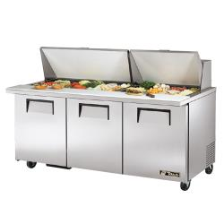 True - TSSU-72-30M-B-ST - Mega Top 3 Door Sandwich Prep Table image
