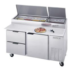 Beverage Air - DPD67HC-2 - 67 in S/S 2 Drawer Pizza Prep Table image