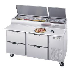 Beverage Air - DPD67HC-4 - 67 in S/S 4 Drawer Pizza Prep Table image