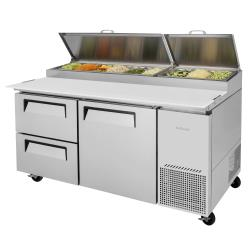 Turbo Air - TPR-67SD-D2-N - 67 in 2 Drawer 1 Door Super Deluxe Pizza Prep Table image