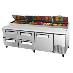 Turbo Air - TPR-93SD-D4 - 93 in 4 Drawer Pizza Prep Table image