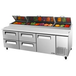 Turbo Air - TPR-93SD-D4-N - 93 in 4-Drawer Pizza Prep Table image
