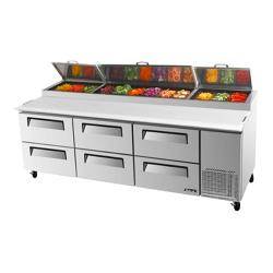 Turbo Air - TPR-93SD-D6 - 93 in 6 Drawer Pizza Prep Table image