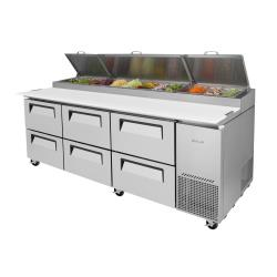 Turbo Air - TPR-93SD-D6-N - 93 in 6 Drawer Super Deluxe Pizza Prep Table image