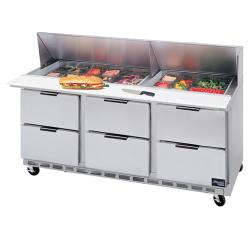 Beverage Air - SPED72-08-6 - 72 in 6 Drawer Sandwich Prep Table with 8 Pans image