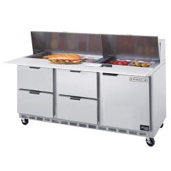 Beverage Air - SPED72-08C-4 - 72 in 4 Drawer Cutting Top Prep Table with 8 Pans image