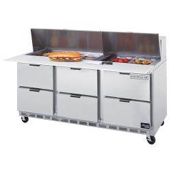 Beverage Air - SPED72-08C-6 - 72 in 6 Drawer Cutting Top Prep Table with 8 Pans image
