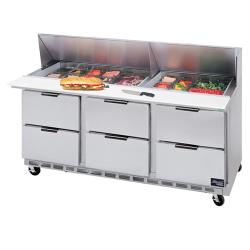 Beverage Air - SPED72-10-6 - 72 in 6 Drawer Sandwich Prep Table with 10 Pans image