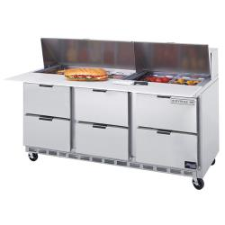 Beverage Air - SPED72-10C-6 - 72 in 6 Drawer Cutting Top Prep Table with 10 Pans image