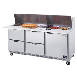 Beverage Air - SPED72-18C-4 - 72 in 4 Drawer Cutting Top Prep Table with 18 Pans image