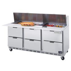 Beverage Air - SPED72-18C-6 - 72 in 6 Drawer Cutting Top Prep Table with 18 Pans image