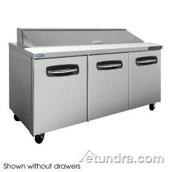 Nor-Lake - NLSP72-18-004 - AdvantEDGE 2 Drawer 72 in Sandwich Prep Table w/Right & Left Doors image