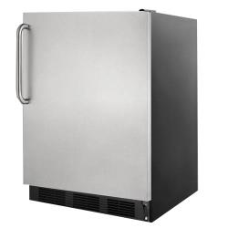Summit - FF7BBISSTB - 1 Solid Door Black AccuCold Built In Refrigerator image