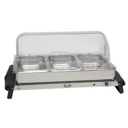 Cadco - WTBS-3RT - Triple Buffet Server with Clear Rolltop Lids image