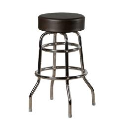 Oak Street - SL2129-BLK - Black Button Top Stool w/Chrome Frame image