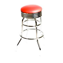 Oak Street - SL2131-RED - Red  Retro Style Stool w/Chrome Frame image