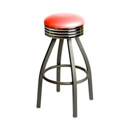 Oak Street - SL2137-RED - Red Retro Style Stool w/Black Frame image