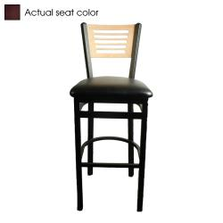 Oak Street - SL2150-1-5-N-WINE - 5-Line Natural Wood Back Barstool w/Wine  Vinyl Seat image