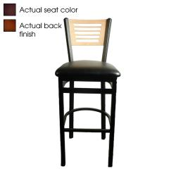 Oak Street - SL2150-1-5-W-WINE - 5-Line Walnut Wood  Back Barstool w/Wine Vinyl Seat image