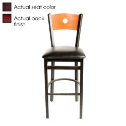 Oak Street - SL2150-1-B-M-WINE - Bull's-eye Walnut Wood Back Barstool w/Wine Vinyl Seat image