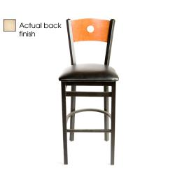 Oak Street - SL2150-1-B-N-BLK - Bull's-eye Natural Wood Back Barstool w/Black Vinyl Seat image