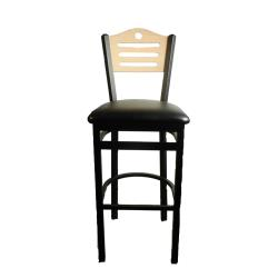 Oak Street - SL2150-1-SH-N-BLK - Shoreline Natural Wood Back Barstool w/Black Vinyl Seat image